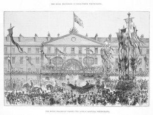 The Royal procession passing the London Hospital, 1887